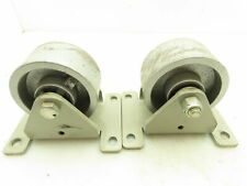 Cast Iron Rigid Caster Wheels 4x 2 4 12 X 6 Mounting Plate Lot Of 2
