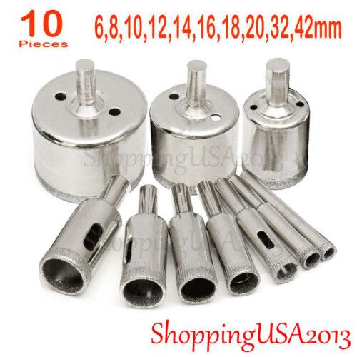 10 pcs 6-42mm Diamond coated tool drill bit hole saw glass ceramic marble@