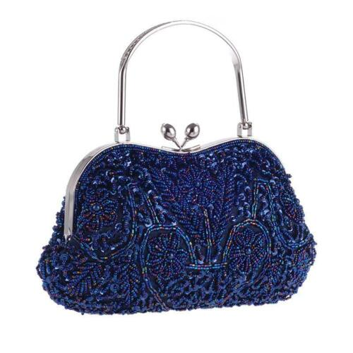 Flower Embellished Seed Bead Sequin Soft Clutch Evening Bag Variety Colors