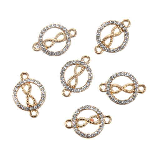 10pcs Gold Plated Crystal Paved Infinity Love Connector Charm Pendant 23*16mm
