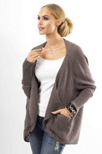 NUOVO Donna splendido cardigan lavorato a maglia con tasche Batwing Giacca Taglia 8-12 fas18