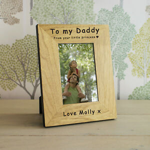 """Personalised Photo Block Wooden 6x4/"""" or 7x5/"""" Picture Frame Dad Grandad Home"""