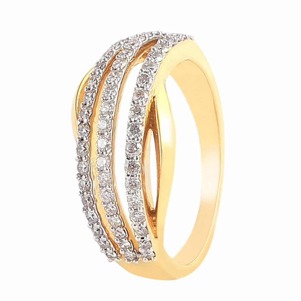 Pave 0.51 Cts Round Brilliant Cut Diamonds Engagement Ring In Certified 18K gold
