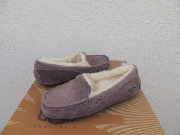 d0ee6189d9 UGG ANSLEY STORMY GREY SUEDE  SHEEP WOOL MOCCASIN SLIPPERS
