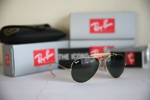 baed356f6b New RAY BAN RB 3030 L0216 G-15 Sunglasses AVIATOR OUTDOORSMAN Gold ...