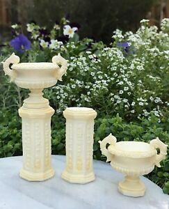 Miniature Dollhouse FAIRY GARDEN Accessories ~ Gray Roma Resin Urns Set 2 Pots