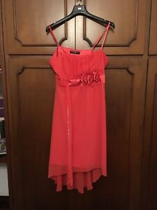 fines Taille Color Bretelles Dress Womens L Salmon BxIqHXzwq