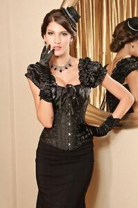 Corset-burlesque-pin-up-noir-a-arabesques-bretelles-tombantes-epaules-SEXY-L-2XL