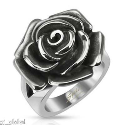 Single Rose Cast Band Ring 316L Stainless Steel