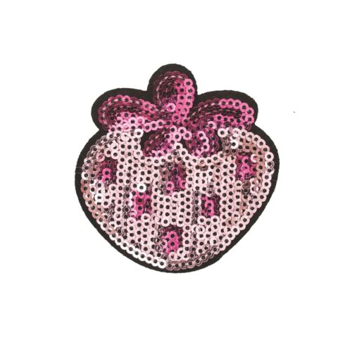 Embroidery Applique Patch Sew Iron Badge Iron on Sequin Pink Strawberry