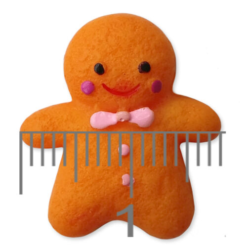 6pcs Cute Gingerbread Man Resin Kawaii Flatback Cabochons Embellishment Craft
