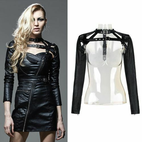 Black faux leather bolero jacket punkrave steam goth Mistress Shrug fetish S M L