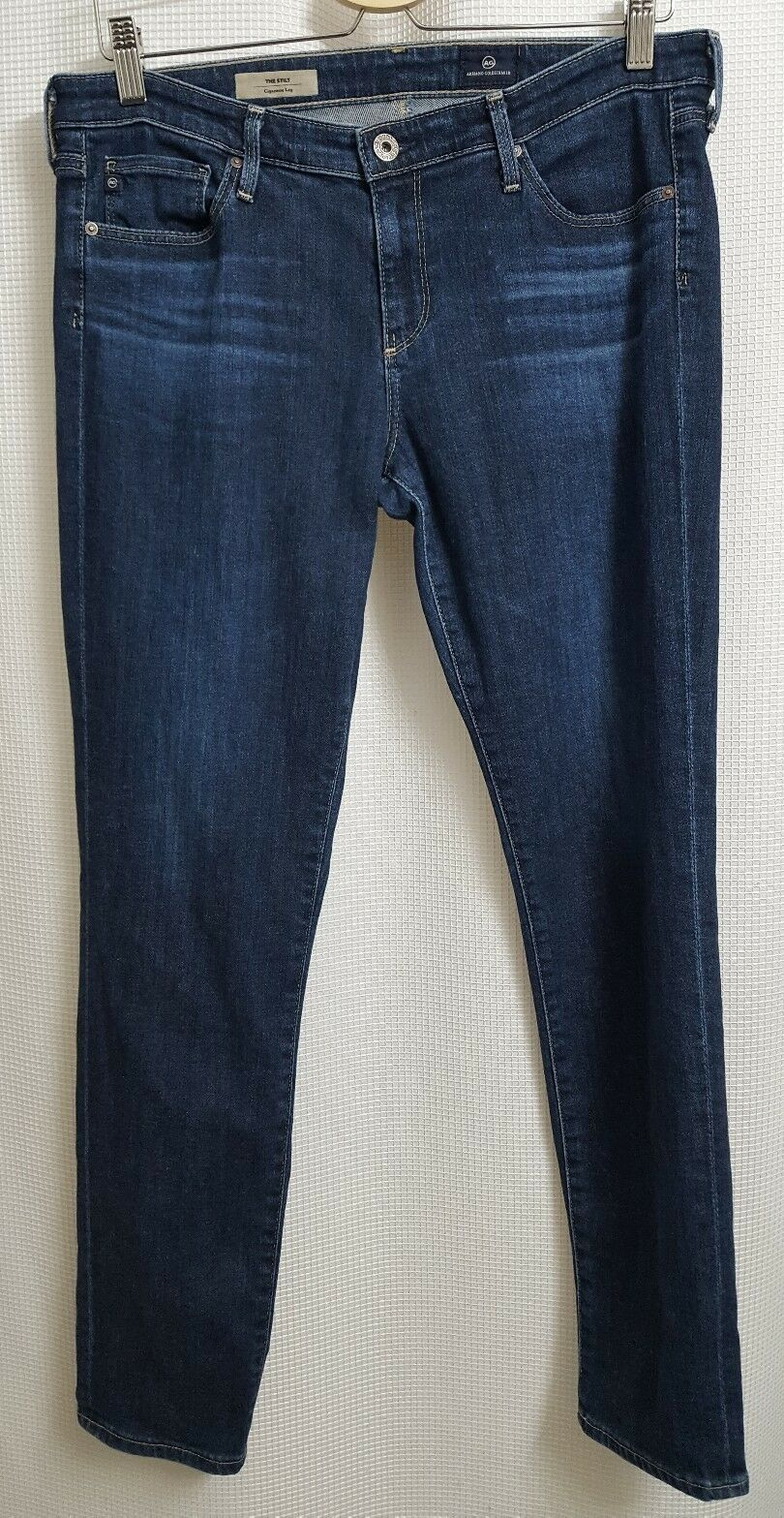 AG Adriano Goldschmied The Stilt Cigarette Leg Whiskerot Dark Wash Jeans sz 31R