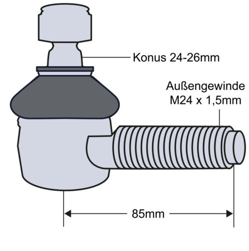 Kugelgelenk Kugelkopf für Lenkzylinder Rechts für Fendt Fendt 206S 207S-209S