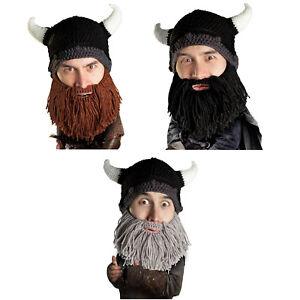 e9292c4ccbb Beard Head Barbarian Looter Knit Warm Thermal Winter Ski Mask Horns ...