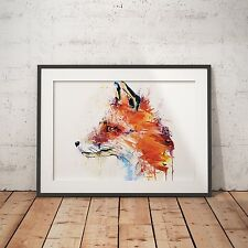 FOX ANIMAL WATER COLOR - A4 Glossy Poster - FREE Shipping