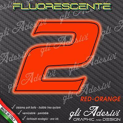 Adesivo Stickers Numero 2 Moto Auto Cross Gara Rosso Fluorescente 5 Cm