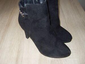 Details zu lässige BUFFALO Boots Stiefeletten Wildleder schwarz 37 8 cm Ankle wie neu