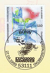 Brillant Rfa 1999: Expo 2000 à Hanovre Nº 2042 Avec Bonner Ersttags-cachet Spécial! 1a-l! 1a 1611fr-fr Afficher Le Titre D'origine Prix De Vente Directe D'Usine