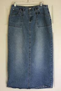 Image Is Loading Modest Jean Skirt Blue Denim JUNIORS Size 13