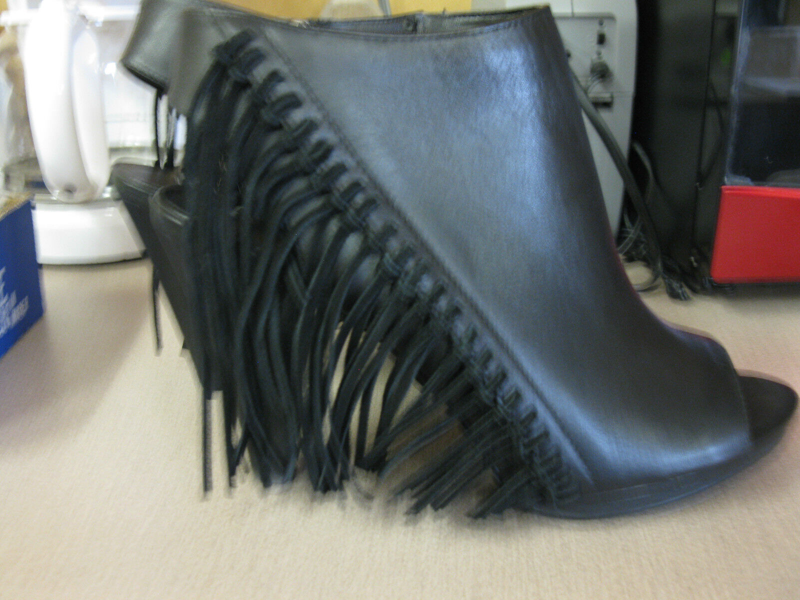 NEW   MADAME ALL  heel LEATHER FRINGE  High heel  ankle boot cec8dc
