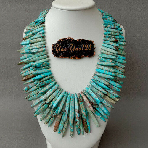 """20/"""" 2 Rows Blue Sea Sediment Imperial Jasper Top drilled StickNecklace"""
