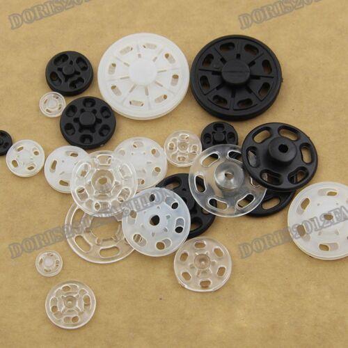 KAM ronde HQ Nylon Plastique Snap Press Fastener Boutons Stud 100pcs à coudre 7-21 mm