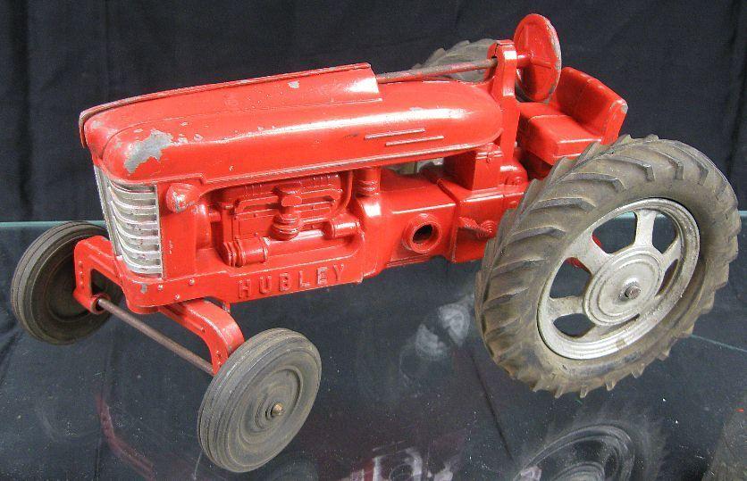 Vintage 1950's Die Cast Large red Tractor Hubley All Original