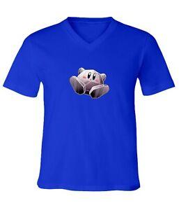 Nintendo-Super-Star-Kirby-Metal-Men-Women-Video-Game-Unisex-V-Neck-Top-T-Shirt