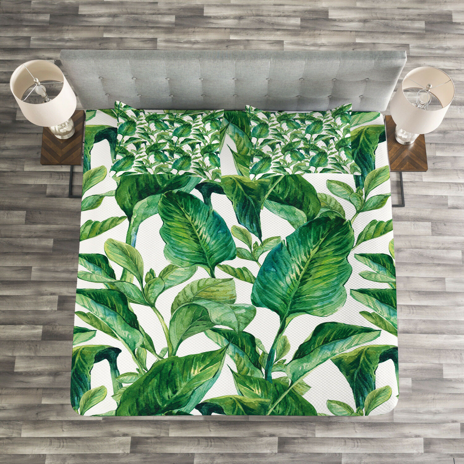 Plant Quilted Bedspread & Pillow Shams Set, Equatorial Leaves Print