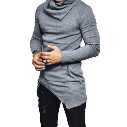Fashion Mens Long Sleeve Irregular Hoodie Slim Muscle Tee T-shirts Pullover Tops