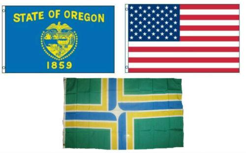3x5 American /& City of Portland /& State of Oregon Wholesale Set Flag 3/'x5/'
