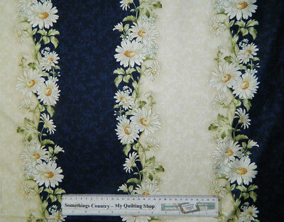 Quilting Patchwork Sewing Cotton Fabric PALE BLUE DAISY BORDER 50x55cm FQ NEW