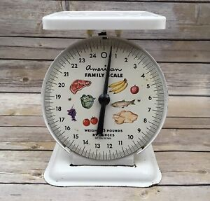 Vintage Retro Kitchen American Family Metal Plastic 25 Pound Scale