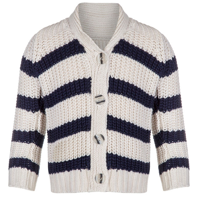 Boys Navy And Cream Winter Knitted Cardigan Ages 3 Months - 5 Years