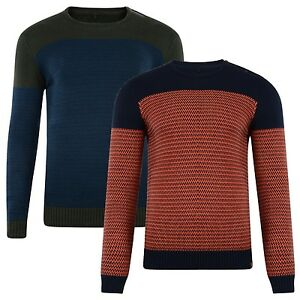 BLEND-New-Men-039-s-Cotton-Knitted-Crew-Neck-Pullover-Knit-Jumper-Sweater-Top