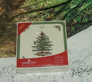 Set of 6 Spode CHRISTMAS TREE Coasters NEW IN BOX NEVER ...