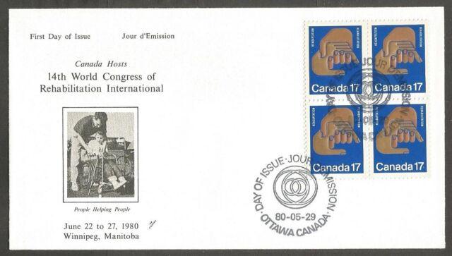 NR.CANADA FDC.1980 REHABILITATION STAMP 17C CANADA SCOTT #856. BLOCK.