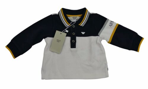 Armani Baby Boy Top Full Sleeve Polo T Shirt Rugby 100% Genuine 6m NavyWhite
