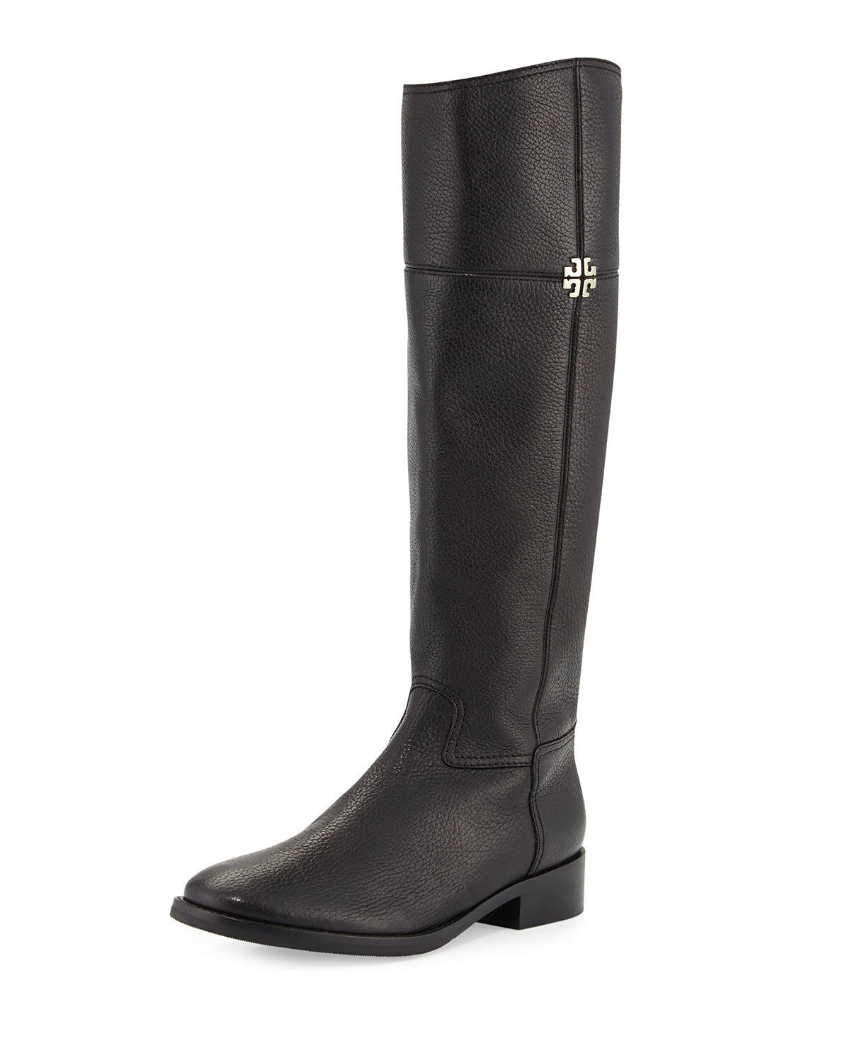 Tory Burch Women's Jolie Riding Boots Boots Riding Black Tumbled Leather 6383 Size 8 M fe32a2