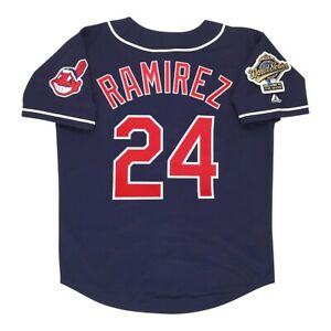 Detalles acerca de Manny Ramírez 1995 Alt los Indios de Cleveland Azul Marino Jersey de hombre Serie Mundial- mostrar título original