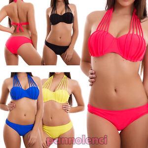 0b4e77d13fda Detalles de Bikini de Mujer Traje de Baño Push Up Mar Slip Cordones con Aro  Nuevo S16112