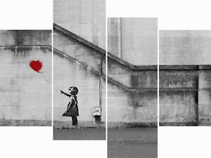Large banksy canvas prints red balloon girl wall art split for Multi canvas art diy