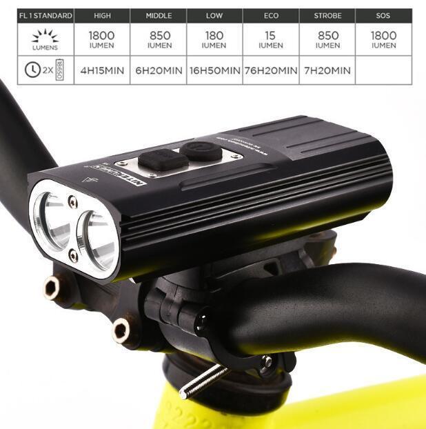 Scheinwerfer Wiederaufladbare Fahrrad Licht wasserdicht 1800 Lumen USB Cree LED