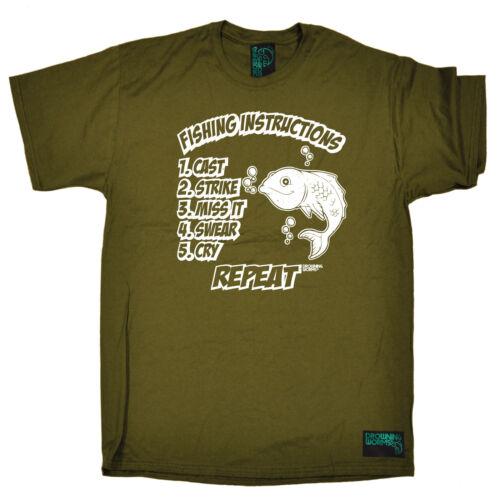 Istruzioni per la Pesca T-Shirt Pescatore Pesca Esca Rod dono regalo di compleanno divertente