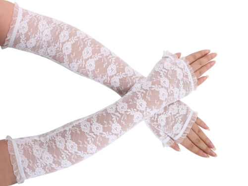 Lace Fingerless Elbow Length Gloves for Wedding Party Bridal Prom Occasion