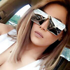 Oversized Fashion Style Women Sunglasses Gradient Mirror Lens Thick Metal Frame