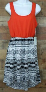 Kiss-amp-Cry-Dress-Sleeveless-Casual-Midi-Aztec-Print-Orange-Black-White-Size-M