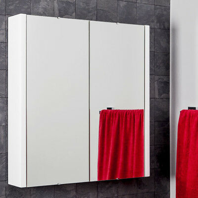 Bathroom Mirror Cabinet Double Door Soft Close 600mm White MDF  Wall Mounted
