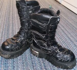 Vintage Goth -Anarchic Black Leather Boots- Steel Toe/ Strapped- Size 7